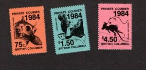 3 BRITISH COLUMBIA PRIVATE COURIER LABELS -3 1984 LABELS 2 MINT &1 USED UNHINGED