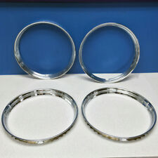 "15"" Stainless Steel Chrome HOT ROD Ribbed Trim Rings / Beauty Rings New SET OF 4"
