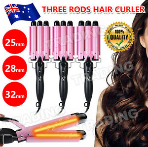 Ceramic Triple Barrel Curling Iron Hair Wave Waver Curler Wand Salon Styler AU