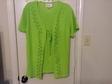 Sabrina by Youlim Woman one size lime green short sleeve pullover top skirt set