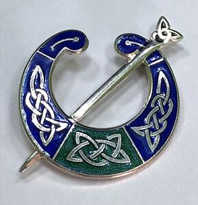 Blue & Green Enamel Silver Tone Celtic Brooch Marked With a Crown with a Fish