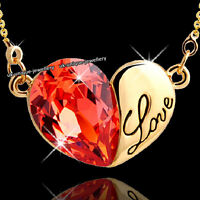 Love Heart Crystal Necklace Orange Engraved Pendant Chain Xmas Gift For Her Wife