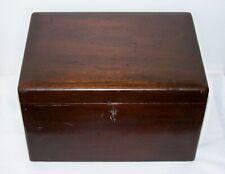 Antique DUNHILL? Glass Lined Mahogany Tobacco Cigar Humidor Box w/Barrel Key