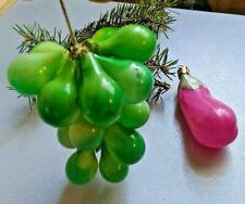☭2 VTG Soviet Russian Christmas XMAS glass toy vegetables fruits ornament USSR