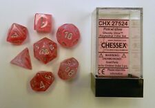 Chessex 7 Dice Set Ghostly Glow Pink w/ Silver CHX 27524 for D&D & D20