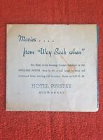 {Vintage} Hotel Pfister Menu/ Silent Movies Schedule Milwaukee Wisconsin {1930s}