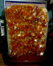 HUGE POLISHED CITRINE CRYSTAL CLUSTER GEODE FROM BRAZIL CATHEDRAL  WOODEN STAND