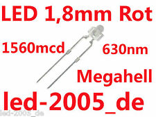 40 x LED 1.8mm rojo, 1560mcd, 630nm, 2v, 20ma, LED 1.8mm rojo, EAN 7091147003385,
