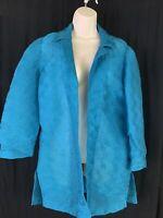 Chico's Travelers Womens Sz 1 Turquoise Jacket Open Front Crinkle 3/4 Sleeve EUC