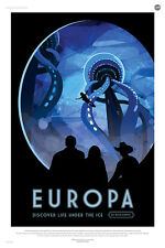 """Europa: Discover Life Under The Ice  - NASA JPL Space Travel Poster (24x36"""")"""