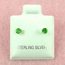 Simulated Emerald Stud Earrings (Se300) Sterling Silver - 3mm Round Cz
