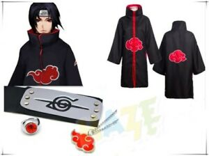 Anime Uchiha Itachi Cosplay Costume Akatsuki Ninja Vent Manteau Set