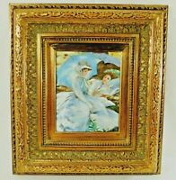 Vintage Ornate Gold Gilt Wood Gesso Framed Oil Painting on Canvas Woman 20 x 18""