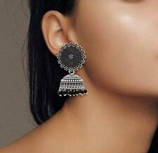 Indian Traditional Silver Oxidised Jhumka Jhumki Earrings For Women and Girls
