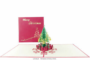 Special Offer Luxury 3D PopUp Christmas Tree Gorgeous Ribbon Decked Celebra Card