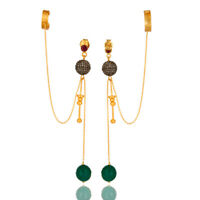 17.27 Ct. Pave Diamond Green Onyx 18K Gold Plated 925 Silver Ear Cuff Earrings