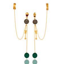 Pave Diamond Green Onyx 18K Gold Plated 925 Sterling Silver Ear Cuff Earrings