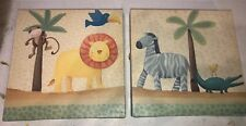 2-9x9in.Monkey Zebra Gator Lion Animal Canvas Print Wall Picture Kids Baby Room