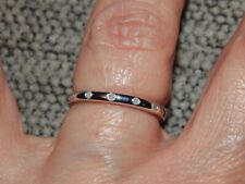 DIAMOND BUTTON THIN  BAND/STACKABLE RING-SIZE S-0.050CTS-WITH PLATINUM