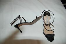 Manolo Blahnik Black Leather Strappy Sandals Shoes Size 36 1/2