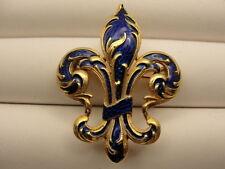 Estate 15K Gold Vintage Ornate Blue Fleur de Lis Pin Brooch and Bead Enhancer