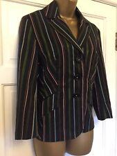 Karen Millen black Candy striped smart blazer tailored Regatta Work UK 12 Eur 40