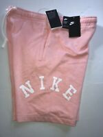 Nike SIze Medium Mens Alumni Fleece Sweat Shorts Coral Pink AR2931-697 New