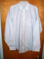 MEN'S BROOKS BROTHERS BUTTON SHIRT L LARGE 16 - 36 WHITE STRIPED LONG SLEEVED