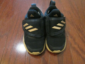 ADIDAS Toddler Girl Sneakers Black and Gold Color Size 7