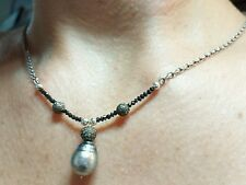 Black gray Tahitian baroque pearl pave  black Diamond silver pendant necklace