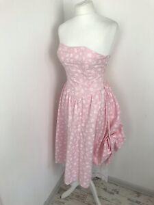 Vintage 80s Joni Blair Pink Corset Bustier Pink Floral Lace Dress Size 8 (US 5)
