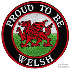 PROUD TO BE WELSH embroidered iron-on PATCH UK WALES CYMRU FLAG EMBLEM dragon