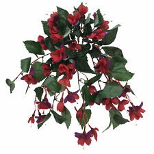 Artificial Silk Fuchsia Bush Trailing 38cm Red Purple