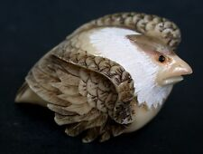 Vintage Japanese Ivory colored Bone Okimono/Netsuke -A Falcon/Eagle Bird ,signed