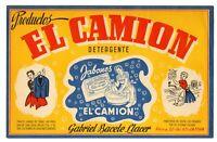 ANUNCIO DE PUBLICIDAD DE JABÓNES Y DETERGENTE EL CAMION (JATIVA)   218x134mm