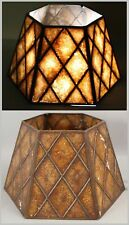 Small Antique c1920s Arts & Crafts Table Lamp Painted Mica Large Shade NR