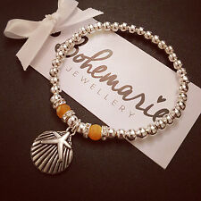 Orange frosted agate & silver shell bracelet gemstone bijoux jewellery boho