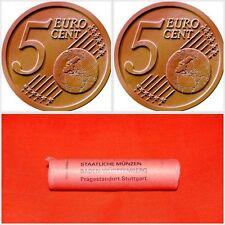 "Roll of 50x 5 Cent Euro Coins Germany Deutschland 2002 Mintmark ""F"" - Stuttgart"