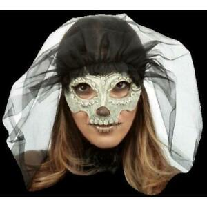 Day of the Dead Half mask and veil Catrina Ghoulish Dead Bride Halloween