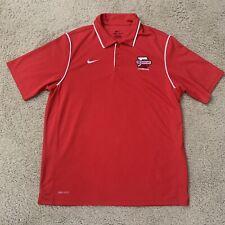 Nike Dri Fit Denison University Big Red Lacrosse Coaches Polo Shirt Men Sz Large