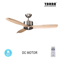 52 inch 132CM Natural Wood Ceiling Fan DC Motor 3 Blades W/ Remote Brushed Nicke