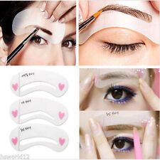 4 24 pcs EYEBROW REUSABLE Stencil Template Clear Shaping Kit Eye Brow Make Up UK