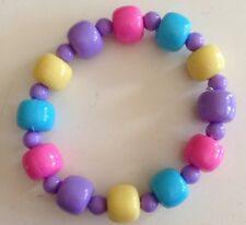 Yellow, Blue, Pink & Purple Beaded Bracelet