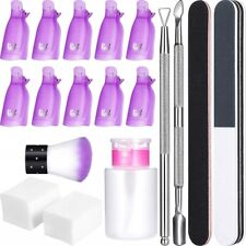 Gel Polish Remover Home Kit Nail Clip Caps Cotton Pads Cuticle Pusher Cutter Set