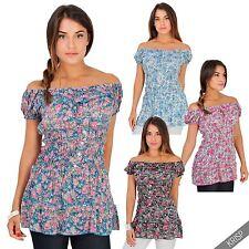Geblümte Kurzarm Damenblusen, - tops & -shirts für die Freizeit-Blusen im