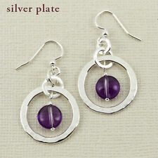 Hammered Circle Amethyst Dangle Earrings SilverPlated Handmade Mima Oly Gift Box