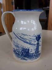 "Marshall Pottery Cobalt Blue Farm Windmill w/ Measurements 6"" Tall Pitcher"