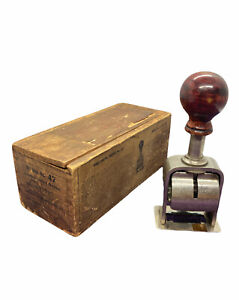 Antique The Bates Numbering Machine No.47  Stamp Brooklyn USA With Original Box