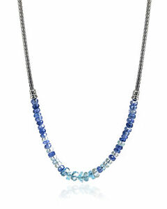 John Hardy Classic Chain Sterling Silver Aquamarine Necklace NBS902241AQKNX16