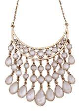 Lucky Brand Gold Tone White Set Stone Collar Bib Necklace NWT